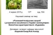 """Науковий семінар: """"Різноманіття вірусних хвороб Lycopersicon esculentum в Україні"""""""