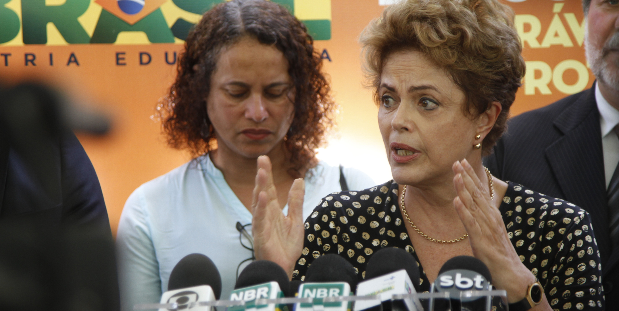 Brazilian President Dilma Rousseff gives a press conference after attending a meeting with authorities and military forces to discuss measures to combat Aedes aegypti, the mosquito responsible for transmitting the virus of dengue, chikungunya and zika to humans, in Recife, northeastern Brazil, on December 5, 2015. Zika virus is connected to cases of microcephaly in 16 Brazilian states. Photo: Ricardo B. Labastier/JC Imagem/Estadao Conteudo. (Agencia Estado via AP Images)
