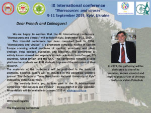 """ІХ-та Міжнародна конференція """"Біоресурси і віруси"""""""